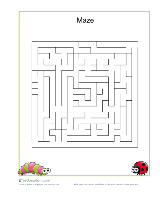 Maze game for child's reading skills development and comprehension